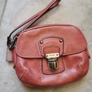 Coach wristlet pink leather